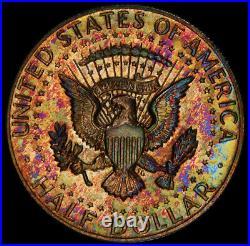 1969-S Kennedy Half Dollar PCGS PR64 Vibrant Blue & Red Rainbow Toned Stunning