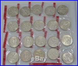 1970-D Gem BU Kennedy Silver Half Dollar 20 Coin Roll All Mint Sealed C0819