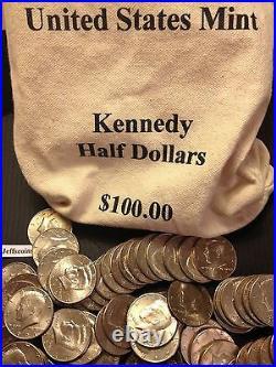1971 2019 PD Kennedy Half Dollar 100 Coin Lot 2x Silver 90% 40% +U. S. Mint Bag