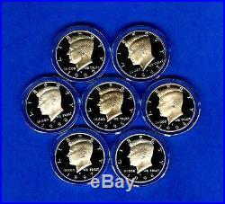 1992-1998 Silver Proof Kennedy Half Dollar Set- 1992 through 1998 7 Half Dollars