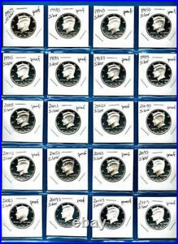 1992 S 2020 S SILVER Proof Kennedy Half Dollar Set 29 Coins