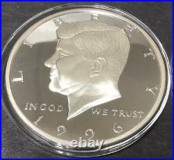 1996 Kennedy Half Dollar 8 Troy Oz. 999 Silver Proof Case & COA Washington Mint