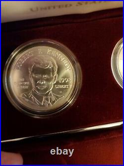 1998 Kennedy Uncirculated Collector 2 Coin Set Matte Finish Half Silver