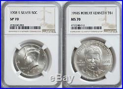 1998 S Kennedy 2 Coin Set NGC JFK SP70 RFK MS70 John Kennedy Matte Silver