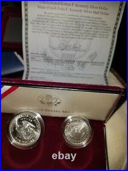 1998-S Kennedy Collector's Set- UNC Silver Dollar & Matte Silver Half With Box+COA