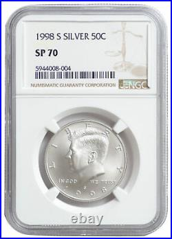 1998 S Kennedy NGC SP70 50C Silver Matte Proof Finish JFK SP70