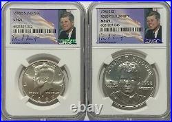 1998 S Ngc Ms69 Sp69 Silver John F Kennedy Jfk 2 Coin Signature Set Matte Finish