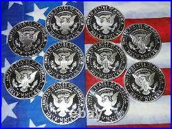 2000 S Thru 2009 S Kennedy Proof Deep Cameo Gem Silver Half Dollars