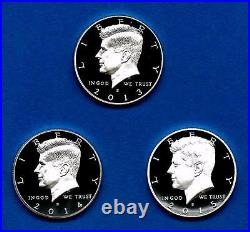 2013 S 2014 S AND 2015 S Silver Proof Kennedy Half Dollar-90% Silver-Three Coins