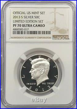 2013 S Proof Silver Kennedy Limited Edition Set Ngc Pf70 Ultra Cameo Pop Only 35