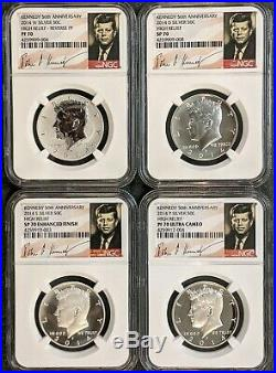 2014 50c 50th Anniversary Kennedy Silver Half Dollar 4 Coin Set NGC 70