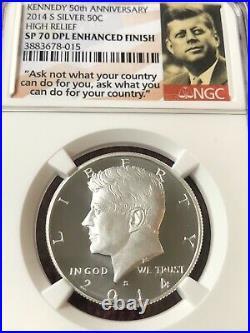 2014 50th Anniv Kennedy Silver Half-dollar High Relief Set Ngc Sp70 (dpl) Pf70