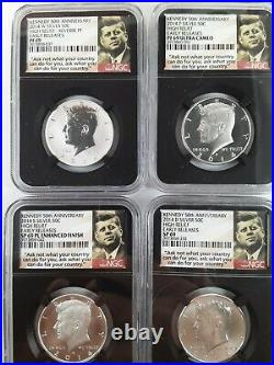 2014 50th Anniversary Kennedy 4 Coin Set. Er, High Relief. Pf69 Sp69 Pl