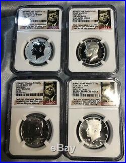 2014 50th Anniversary Kennedy Half Dollar 4 Coin Set-ngc Sp Pf 69-early Releases