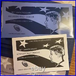 2014 50th Anniversary Kennedy Half Dollar Silver 4 Coin Set Box & COA