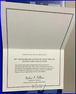 2014 KENNEDY HALF-DOLLAR 50th Anniversary SILVER COIN COLLECTION with Box and COA