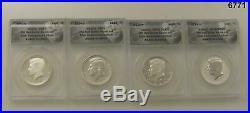 2014 Kennedy 50th Anniversary 4 Coin Set Anacs Cert Rp70, Pr70, Sp70, Eu70 #6771