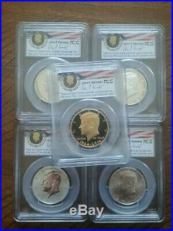 2014 Kennedy Half Dollar Gold / Silver Coin 50th Anniversary Set FS PCGS PR/MS70