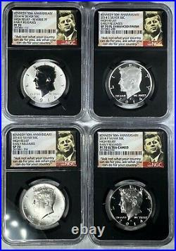 2014 Kennedy Silver 50th Anniv. High Relief Early Releases NGC PF70 SP70 PL SET