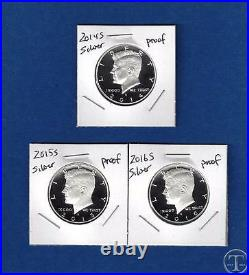2014 S, 2015 S AND 2016 S 90% SILVER PROOF Kennedy Half Dollar Set-Three Coins