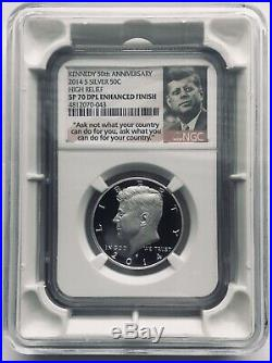 2014 S Kennedy NGC SP 70 DPL Silver High Relief Enhanced Finish (DMPL) and Case
