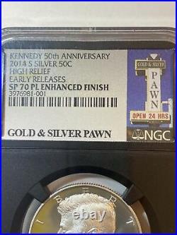 2014-S Kennedy half dollar high relief ER sp70 PL Gold & Silver Pawn. PawnStars