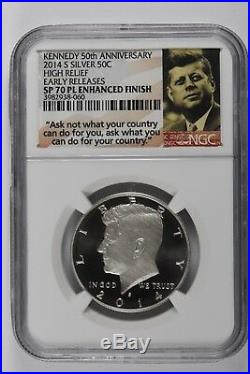 2014 Silver Kennedy 50th Anniversary Set High Relief Sp70 Pl Early Releases Ngc
