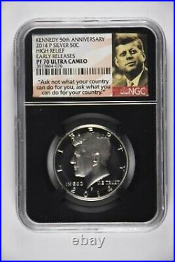 2014 Silver Kennedy 50th Anniversary Set High Relief Sp70-pl Early Releases Ngc