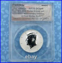 2014 W ANACS RP pr70 Deep Cameo Reverse Proof Silver Kennedy First Strike #1964