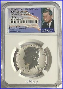 2014 W NGC PF70 SILVER REVERSE PROOF KENNEDY 90 % SIGNATURE 50TH ANNIVERSARY 50c