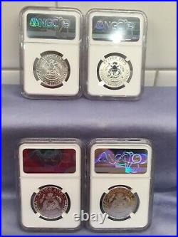 2014 W Reverse Proof Silver Kennedy 4 Coin Ngc Pf70 Sp70 50th Ann Set S, P, D, W