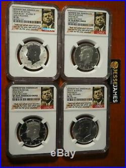2014 W Reverse Proof Silver Kennedy 4 Coin Ngc Pf70 Sp70 Pl 50th Ann Set S D P