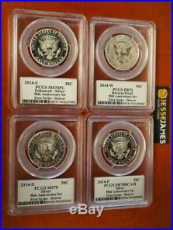 2014 W Reverse Proof Silver Kennedy 4 Coin Pcgs Pr70 Ms70 Pl 50th Ann Set Denver
