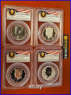 2014 W Reverse Proof Silver Kennedy 4 Coin Pcgs Pr70 Ms70 Pl 50th Ann Set Philly