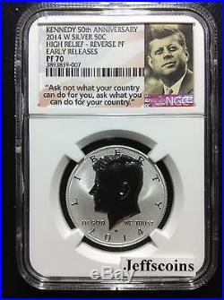 2014 W Silver Reverse Proof Kennedy Half NGC PF70 IN HAND 50th Anniversary K13