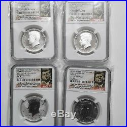 2014 kennedy half dollar silver 4 coin set early release ngc70