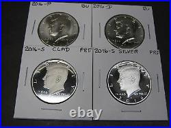 2016 P D S CLAD S SILVER PROOF KENNEDY HALF DOLLARS (4 Coins)