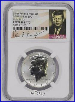 2018 S Silver Reverse Proof Kennedy Half Dollar NGC PF70 LIGHT FINISH