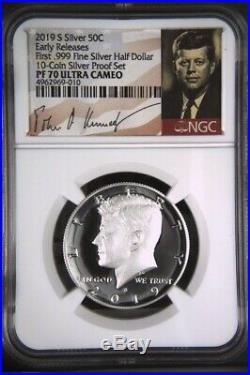 2019 S First. 999 Fine Silver Kennedy Half Dollar 50c NGC PF 70 Ultra Cameo ER