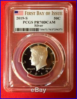 2019 S Proof Silver Kennedy Half Dollar First. 999 Silver Pcgs Pf70dcam Fdoi