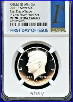 2021 S Silver 99.9 50C F. D. O. I. From 7-Coin Silver Set NGC PF70 Ultra Cameo