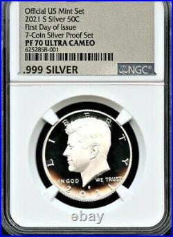 2021 S Silver 99.9 50C F. D. O. I. From 7-Coin Silver Set NGC PF70 Ultra Cameo MET