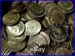2 1/2 pounds US Silver Kennedy Half Dollars BU to EF/XF 5 Rolls $50 Face Nice