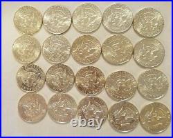 5 Rolls 1964 Kennedy Half Dollar Lot 100 Coins BU 90% Silver
