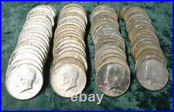 5 Rolls of Kennedy 40% Silver Half Dollars, $50 Face, 14.79 oz ASW, 100 Coins