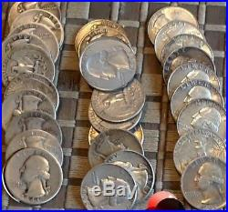 60- Silver Coin Lot Roosevelt 10c Washington Quarters Franklin JFK Half Dollars