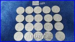 BU Roll of 1964 Kennedy Half Dollars 20 coins. 90% silver coins (K13)