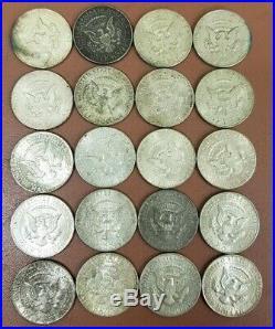 Full Roll (20) Circulated 90% Silver 1964 Kennedy Silver Half Dollars