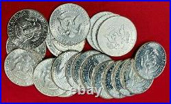 Gorgeous Full Roll (20) Bu 1964 90% Silver Kennedy Half Dollars From Estate