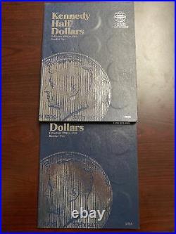 KENNEDY HALF DOLLAR 2 BOOK SET 1964-2003 No 70s 64/69 90/40% Silver 71 Coins